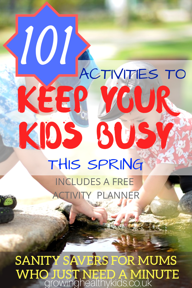 101 Activites To Keep Your Kids Busy This Spring- With FREE Printable Planner. Free or low cost activities with almost NO Prep needed
