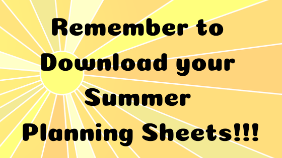 planning sheets for summer fun