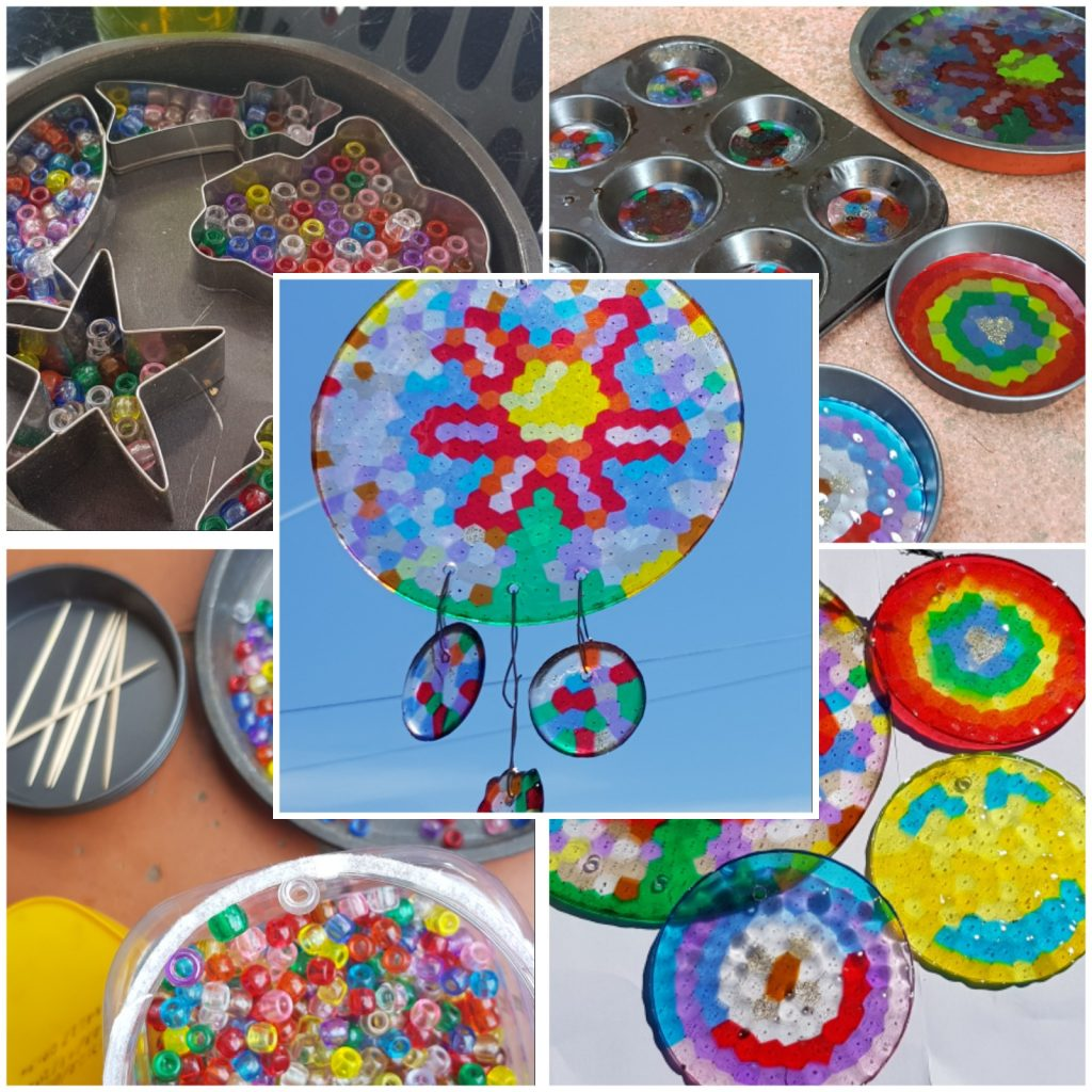 Beautiful Sun catcher craft for kids. We love fun DIY projects like this. They make beautiful garden art using melted pony beads.
