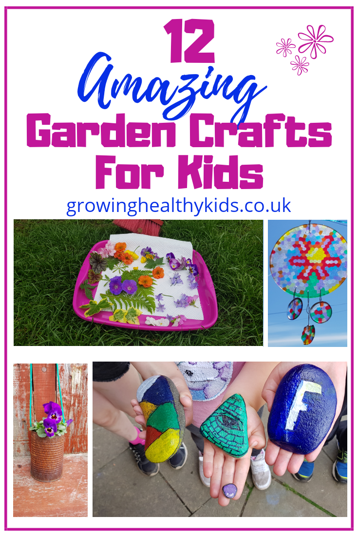 12 garden crafts for kids to make outdoors in the fall or spring. So easy that even preschool children will be able to have fun in the back yard making these DIY crafts. The perfect activities for celebrating Earth Day, Easter or Spring.