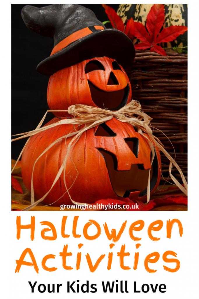 Pumpkins stacked up to show halloween activities for kids.