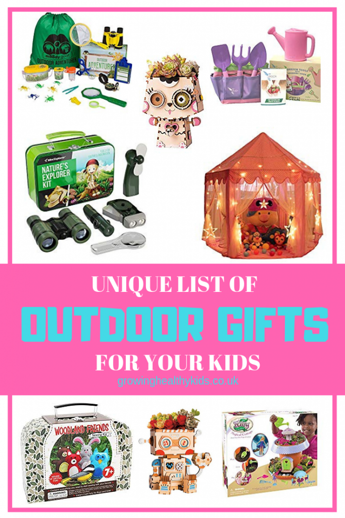 [erfect products to help get kids outdoors. these awesome gifts for girls or boys gives you perfect projects to get families together and outdoors whether it's in the woods or the gardens. Brilliant activities to prevent the clutter and give lots of fun and ideas to your kids to fire their imaginations.