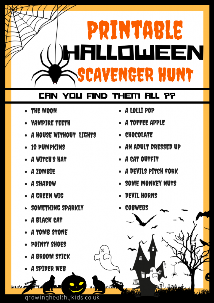 Fantastic Halloween scavenger hunt printable. perfect for the kids to take out with them trick or treating Halloween Activities For Toddlers. Perfect learning activities and craft ideas from baby to toddler. Full of sensory play and great practise for motor skills and lots of fun. There's even a few free printables.