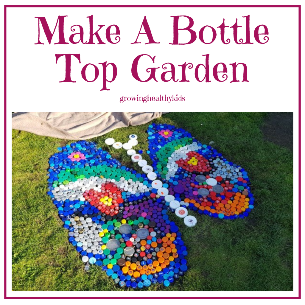 Bottle top garden crafts is perfect craft to get kids outdoors. Perfect for any back yard and so easy even parents can do it