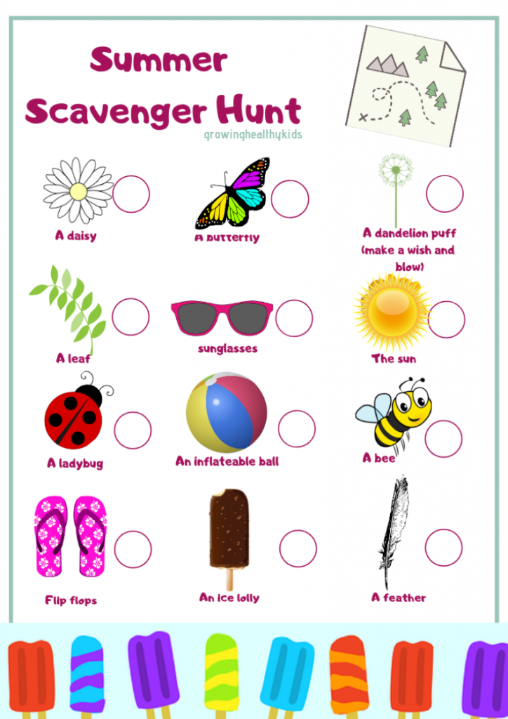 summer scavenger hunt for kids. get outdoors and use this simple scavenger hunt to have some fun