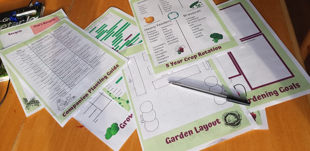 Planning sheets on table. Free download to plan garden